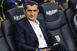 September 2, 2018 - Barcelona, Catalonia, Spain - Ernesto Valverde of FC Barcelona during the La Liga game between FC Barcelona against Huesca in Camp Nou Stadium at Barcelona, on 02 of September of 2018, Spain. (Credit Image: © Xavier Bonilla/NurPhoto/ZUMA Press)