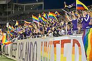 MLS Game, Orlando City v San Jose Earthquake, Orlando City dedicate match to Pulse nightclub Shootings In Orlando.  <br /> 06-18-16.<br /> Orlando's fans flags in support  . <br /> Orlando, Florida, USA.<br /> Picture  Mark Davison for DailyMail.com<br /> Saturday 18th June 2016.