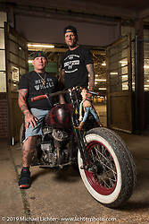 Rhett Rotten AND Freddie Bollwage with Freddy's 1947 Harley-Davidson Sons of Speed Flathead racer at the Congregation Show. Charlotte, NC. USA. Saturday April 14, 2018. Photography ©2018 Michael Lichter.