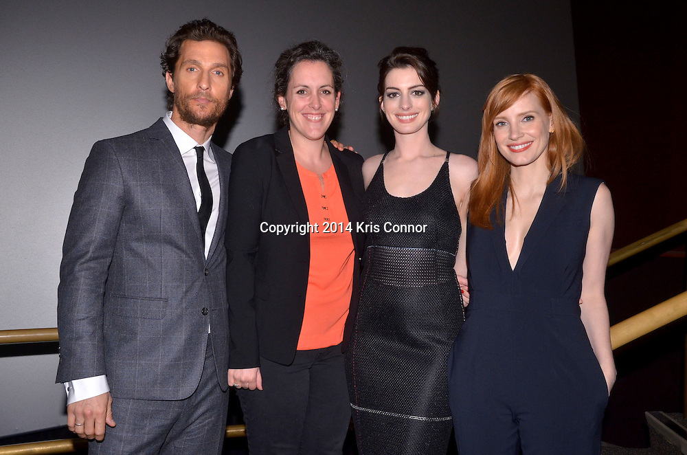 Matthew McConaughey, Producer Emma Thomas Anne Hathaway, and Jessica Chastain,  pose for a photo during the DC premiere of Paramount Pictures' INTERSTELLAR at the Lockheed Martin IMAX Theater at the National Air and Space Museum in Washington DC on November 05, 2014. Photo by Kris Connor/Paramount Pictures