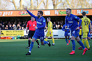 AFC Wimbledon attacker Shane McLoughlin (19) celebrating after scoring goal during the EFL Sky Bet League 1 match between AFC Wimbledon and Fleetwood Town at the Cherry Red Records Stadium, Kingston, England on 8 February 2020.