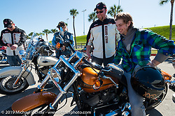 Martin Tucker of Liverpool, England, ready to head out on a test ride of a new Harley from the Harley-Davidson display during Daytona Bike Week, FL, USA. March 8, 2014.  Photography ©2014 Michael Lichter.