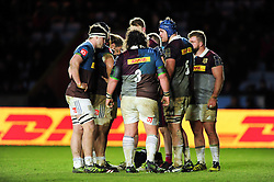 The Harlequins players huddle together during a break in play - Mandatory byline: Patrick Khachfe/JMP - 07966 386802 - 03/02/2017 - RUGBY UNION - The Twickenham Stoop - London, England - Harlequins v Sale Sharks - Anglo-Welsh Cup.