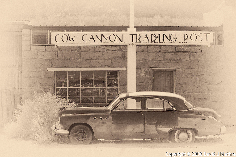 Cow Canyon Trading Post. Image taken with a Nikon D300 and 80-400 mm VR lens (ISO 200, 80 mm, f/5.6, 1/640 sec). NIK Silver Efex Pro 2.