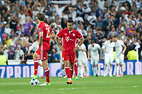 Thomas Muller and Thiago Alcantara reacts during the match of Champions League between Real Madrid and FC Bayern Munchen at Santiago Bernabeu Stadium  in Madrid, Spain. April 18, 2017. (ALTERPHOTOS)
