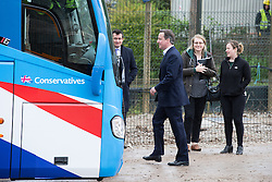 © Licensed to London News Pictures . 06/05/2015 . Chester , UK . The Conservative Party Leader DAVID CAMERON leaves a building site for an extension at Chester Zoo on the final day of the election campaign . Photo credit : Joel Goodman/LNP