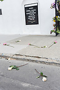 Roses on the ground in front of the Mother Emanuel African Methodist Episcopal Church on the 2nd anniversary of the mass shooting June 17, 2017 in Charleston, South Carolina. Nine members of the historic African-American church were gunned down by a white supremacist during bible study on June 17, 2015.