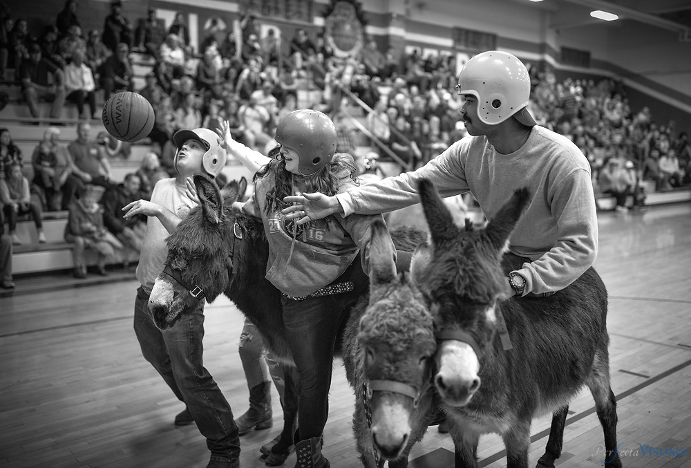 Guil-Rand fire fighter Darrius Alston, right, and Kathryn Oster, 11th Grade, middle, fight for a rebound.<br /> <br /> The Randleman High School Future Farmers of America Alumni held their annual Donkey Basketball fundraiser at Randleman High School. This fundraiser helps raise money for the National FFA organization at Randleman High School. The money is used for hunter safety education programs, field trips, community service, and multiple committees within the organization. The National FFA organization is preparing student members for leadership and careers in science, business, and technology within the agricultural field.<br /> <br /> Photographed, Saturday, February 23, 2019, in Randleman, N.C. JERRY WOLFORD and SCOTT MUTHERSBAUGH / Perfecta Visuals