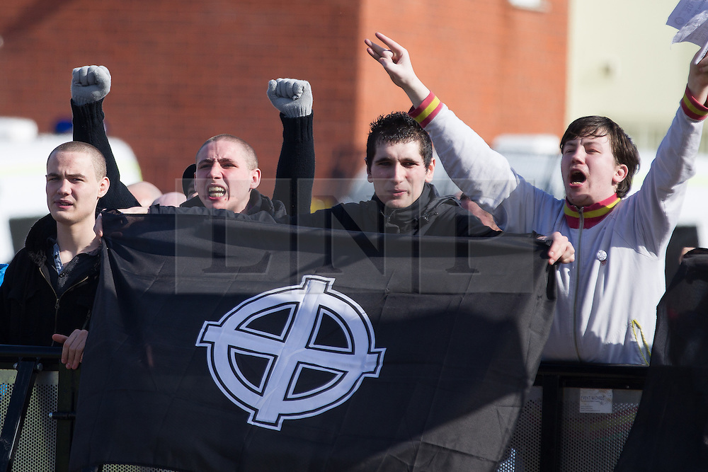 © Licensed to London News Pictures . 09/03/2013 . Swansea , UK . A white pride demonstration in Swansea to coincide with White Pride World Wide Day . Supporters of various far-right groups , including Blood and Honour and the National Front , attend . Photo credit : Joel Goodman/LNP