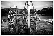 Henley-On-Thames, Berkshire, UK., Saturday, 12/06/2021,  2021 Regatta Course Construction, Laying the course, Piles and Booms, Piling, Temple Island, [Mandatory Credit © Peter Spurrier/Intersport Images], , Black & White, B&W,