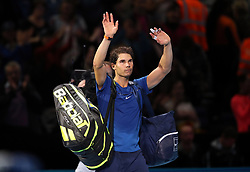 Spain's Rafael Nadal acknowledges the crowd after losing to Belgium's David Goffin during day two of the NITTO ATP World Tour Finals at the O2 Arena, London.