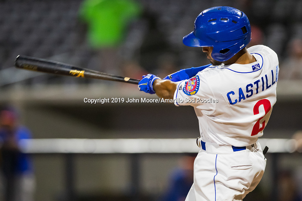 Amarillo Sod Poodles infielder Ivan Castillo (2) hits the ball against the Midland RockHounds on Thursday, Aug. 15, 2019, at HODGETOWN in Amarillo, Texas. [Photo by John Moore/Amarillo Sod Poodles]