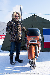 French custom bike builder Bertrand Dubet with his partially streamlined Aprilia RSV4 racer at his shop tend during the Baikal Mile Ice Speed Festival. Maksimiha, Siberia, Russia. Friday, February 28, 2020. Photography ©2020 Michael Lichter.