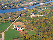 Aerial view of Sauk City (Sauk Prairie & Prairie du Sac), Wisconsin. Wollersheim Winery is in the middle of the image, along the hill.