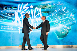 NEW YORK, NEW YORK - SEPTEMBER 21: (L to R) U.S. President Barack Obama shakes hands with former New York City mayor Michael Bloomberg before speaking at the U.S.-Africa Business Forum at the Plaza Hotel, September 21, 2016 in New York City. The forum is focused on trade and investment opportunities on the African continent for African heads of government and American business leaders.<br /> Photo by Drew Angerer/Pool/ABACAPRESS.COM