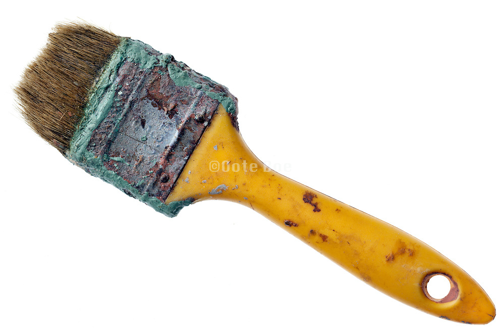 worn out intensive used old paint brush