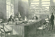 Meeting of the General Board of Health, Gwydyr House, Whitehall, London.  Figure seated on right is Edwin Chadwick (1800-1890) who agitated for a Sanitary Commission which came into effect in 1839. The Public Health Act of 1848 which established the General Board of Health.