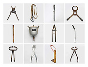 A selection of agricultural tools for looking after livestock at Newgrove House (farm), Llandinabo; Herefordshire, UK