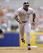 MILWAUKEE - 1994:  Frank Thomas of the Chicago White Sox runs the bases during an MLB game against the Milwaukee Brewers at County Stadium in Milwaukee, Wisconsin during the 1994 season. (Photo by Ron Vesely) Subject:   Frank Thomas