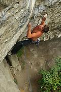 Matt Pickles on Mecca, 8b+, Raven Tor, Peak District
