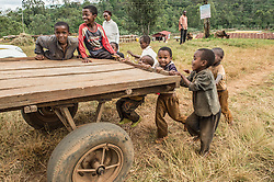 Children play at a small coffee farm in the village of Haru, Yirgacheffe, in Ethiopia. Ethiopia is the world's seventh largest producer of coffee, and Africa's top producer. Yirgacheffe is a town in central southern Ethiopia with an elevation of between 1880 and 1919 meters above sea level. It is an important coffee growing area of the country.
