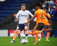 Preston North End's Tom Barkhuizen vies for possession with Reading's Liam Moore<br /> <br /> Photographer Kevin Barnes/CameraSport<br /> <br /> The EFL Sky Bet Championship - Preston North End v Reading - Saturday 19th August 2017 - Deepdale Stadium - Preston<br /> <br /> World Copyright © 2017 CameraSport. All rights reserved. 43 Linden Ave. Countesthorpe. Leicester. England. LE8 5PG - Tel: +44 (0) 116 277 4147 - admin@camerasport.com - www.camerasport.com