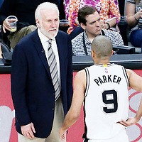 01 May 2017: San Antonio Spurs guard Tony Parker (9) talks to San Antonio Spurs head coach Gregg Popovich during the Houston Rockets 126-99 victory over the San Antonio Spurs, in game 1 of the Western Conference Semi Finals, at the AT&T Center, San Antonio, Texas, USA.