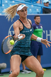 August 15, 2018 - Mason, Ohio, USA - Lesia Tsurenko (UKR) hits a forehand shot during Wednesday's second round of the Western and Southern Open at the Lindner Family Tennis Center, Mason, Oh. (Credit Image: © Scott Stuart via ZUMA Wire)