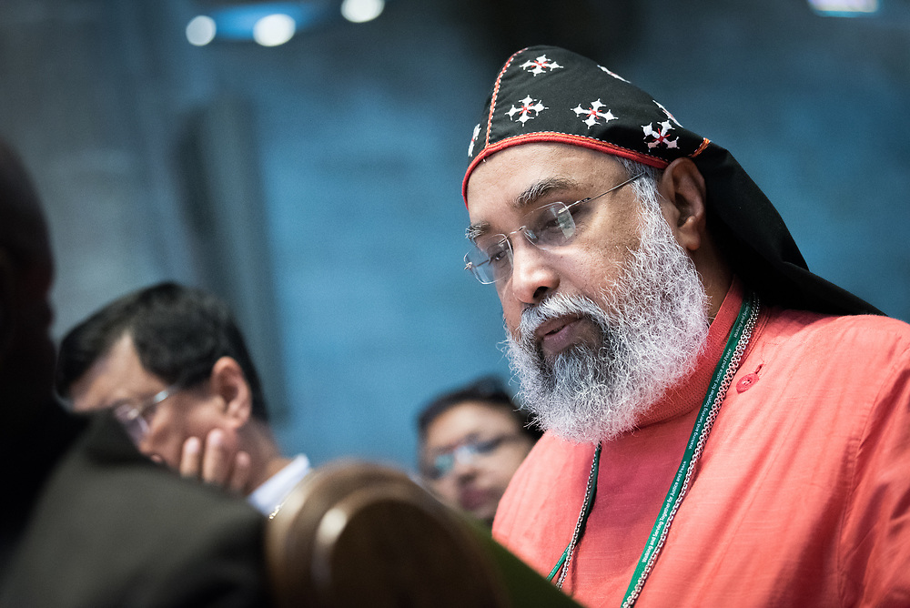 17 June 2018, Geneva, Switzerland: Representatives of churches worldwide gathered at Geneva's St Pierre Cathedral for a service of celebration to mark the 70th anniversary of the World Council of Churches on 17 June, at which His All-Holiness Ecumenical Patriarch Bartholomew urged continued efforts for unity, justice and peace.