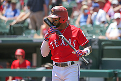 May 9, 2018 - Arlington, TX, U.S. - ARLINGTON, TX - MAY 09: Texas Rangers center fielder Delino DeShields (3) kisses his bat during the game between the Detroit Tigers and the Texas Rangers on May 9, 2018 at Globe Life Park in Arlington, TX. (Photo by George Walker/Icon Sportswire) (Credit Image: © George Walker/Icon SMI via ZUMA Press)