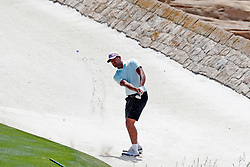 June 11, 2019 - Pebble Beach, CA, U.S. - PEBBLE BEACH, CA - JUNE 11: PGA golfer Tony Finau hits out of a sand trap on the 18th hole during a practice round for the 2019 US Open on June 11, 2019, at Pebble Beach Golf Links in Pebble Beach, CA. (Photo by Brian Spurlock/Icon Sportswire) (Credit Image: © Brian Spurlock/Icon SMI via ZUMA Press)