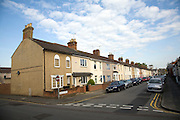 Terraced housing street in Swindon, England