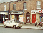 Old amateur photos of Dublin streets churches, cars, lanes, roads, shops schools, hospitals Dominick St, Corner, R + R Musical Society, Kennedy Bikes Shop, Doorway Sussex St Dunlaoire, May 1984