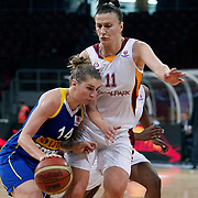 Galatasaray's Ivanka MATIC (R) and Lotos Gdynia's Jolene ANDERSON (L) during their woman Euroleague group A matchday 5 Galatasaray between Lotos Gdynia at the Abdi Ipekci Arena in Istanbul at Turkey on Wednesday, November 09 2011. Photo by TURKPIX