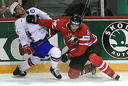 Anders Bastiansen of Norway and Brent Burns of Canada at play-off round quarterfinals ice-hockey game Norway vs Canada at IIHF WC 2008 in Halifax,  on May 14, 2008 in Metro Center, Halifax, Nova Scotia,Canada. (Photo by Vid Ponikvar / Sportal Images)