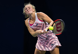 August 28, 2018 - Katerina Siniakova of the Czech Republic in action during her first round match at the 2018 US Open Grand Slam tennis tournament. New York, USA. August 28th 2018. (Credit Image: © AFP7 via ZUMA Wire)