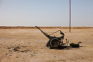 An anti-aircraft gun set up to defend the town of Abjabiya from Qadaffi loyalists.