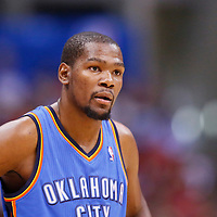 11 May 2014: Oklahoma City Thunder forward Kevin Durant (35) rests during the Los Angeles Clippers 101-99 victory over the Oklahoma City Thunder, during Game Four of the Western Conference Semifinals of the NBA Playoffs, at the Staples Center, Los Angeles, California, USA.