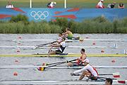 Eton Dorney, Windsor, Great Britain,..2012 London Olympic Regatta, Dorney Lake. Eton Rowing Centre, Berkshire[ Rowing]...Description: Start Men's single Sculls BEL M1X NZL M1X CRO M1X    11:02:05  Tuesday  31/07/2012.[Mandatory Credit: Peter Spurrier/Intersport Images].