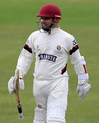 Somerset's Johann Myburgh is all smiles after scoring 150- Photo mandatory by-line: Harry Trump/JMP - Mobile: 07966 386802 - 04/04/15 - SPORT - CRICKET - Pre Season - Day 3 - Somerset v Durham MCCU - Taunton Vale, Somerset, England.