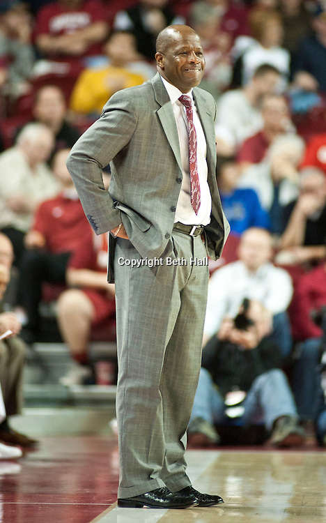 Nov 20, 2012; Fayetteville, AR, USA; Arkansas Razorbacks head coach Mike Anderson reacts to a play during the second half of a game against the Florida A&M Rattlers at Bud Walton Arena. Arkansas defeated Florida A&M 89-60. Mandatory Credit: Beth Hall-US PRESSWIREPRESSWIRE