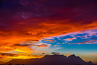 A blazing sunset, Table Mountain, Cape Town, South Africa.