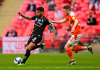 Lincoln City's Liam Bridcutt vies for possession with Blackpool's Elliot Embleton<br /> <br /> Photographer Andrew Vaughan/CameraSport<br /> <br /> The EFL Sky Bet League One Play-Off Final - Blackpool v Lincoln City - Sunday 30th May 2021 - Wembley Stadium - London<br /> <br /> World Copyright © 2021 CameraSport. All rights reserved. 43 Linden Ave. Countesthorpe. Leicester. England. LE8 5PG - Tel: +44 (0) 116 277 4147 - admin@camerasport.com - www.camerasport.com