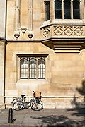 A student's bicycle parked on a Cambridge street, Cambridge University, Cambridge, UK