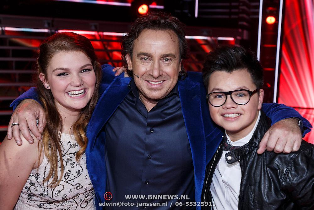 NLD/Hilversum/20131107- The Voice of Holland 1e live uitzending, gaby Boterkooper, Marco Borsato en Marvin Kneefel