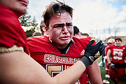 ORADELL, NJ - November 14: After leading at halftime, Bergen looses to Don Bosco Prep on a last second touchdown pass. Lineman Frank Zito emotional after a heartbreaking upset loss.<br /> <br /> We are in the midst of witnessing something this world has never experienced - a global pandemic. The coronavirus has swept away the world in March of 2020 - since then, the world we know It hasn't been the same. Jobs, businesses and futures have been put on hold and lost, yet, we have to power through to overcome one of the greatest obstacles this we have faced. The high school football season wasn't suppose to happen, but a glimmer of hope, intense safety measures & a little bit of luck has allowed for the season to start, now the question is ' Can It be completed?'<br /> <br /> Photo by Johnnie Izquierdo