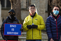 London, UK. 29 January, 2020. Hong Kong residents protest opposite Parliament to call for the reopening and broadening of the British National Overseas (BNO) passport scheme to Hong Kong citizens. Around 169,000 Hong Kong residents hold active BNO passports under the scheme from the period 1987-1997. Tomorrow they will visit the Foreign and Commonwealth and Home Offices to deliver a petition.