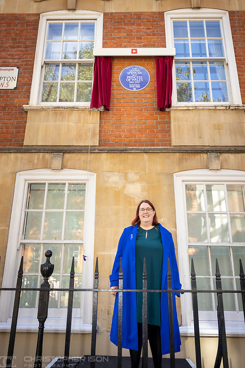 Deborah Gold, Chief Exec of the National Aids Trust speaking at Coleherne Court.<br /> Diana, Princess of Wales has today been honoured with an English Heritage London blue plaque. Unveiled by Diana's former flatmate Virginia Clarke, the plaque marks Coleherne Court on the Old Brompton Road, where Diana lived at Flat 60 at the time of her engagement to the Prince of Wales in 1981. Diana described her time at Coleherne Court as one of the happiest of her life and it was from this flat that she took her first steps onto the world stage. The princess, who would have turned 60 this year, used her huge, international profile to speak out on humanitarian issues and raise awareness of charitable causes.<br /> Picture date Wednesday 29th September, 2021.<br /> Picture by Christopher Ison. Contact +447544 044177 chris@christopherison.com