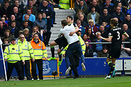 Pedro of Chelsea celebrates with a fan as stewards look on after scoring his teams 1st goal. Premier league match, Everton v Chelsea at Goodison Park in Liverpool, Merseyside on Sunday 30th April 2017.<br /> pic by Chris Stading, Andrew Orchard sports photography.