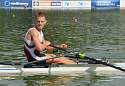 Plovdiv BULGARIA. DEN LM1X Henrik STEPHANSEN. Winner and Gold Medalist Men's Lightweight Single Sculls. 2012 FISA Junior and Non Olympic . Rowing Championships, Plovdiv Rowing Course.     10:40:42  Sunday  19/08/2012   [Mandatory Credit Peter Spurrier: Intersport Images]...